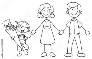 """""""Junge mit seinen Eltern bei der Einschulung Vektor ..."""