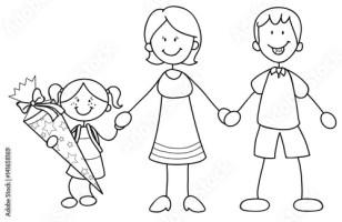 """""""Mädchen mit ihren Eltern bei der Einschulung Vektor ..."""