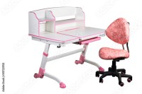 """""""Pink school desk and pink chair"""" Stock photo and royalty ..."""
