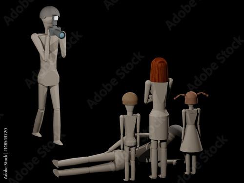 Szene beim Fotografen 3DRendering mit Holzpupen Stockfotos und lizenzfreie Bilder auf