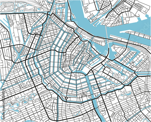 quotBlack and white vector city map of Amsterdam with well