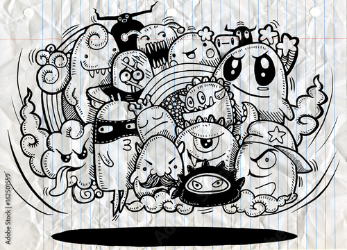 Angry cartoon monsterHand drawn Crazy doodle Monster
