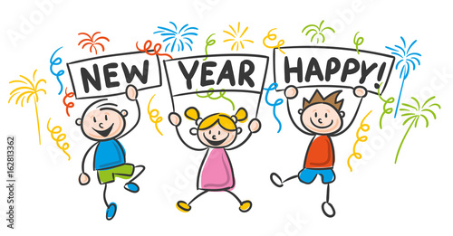 """strichfiguren Kinder Bunt  Happy New Year"" Stock Image"