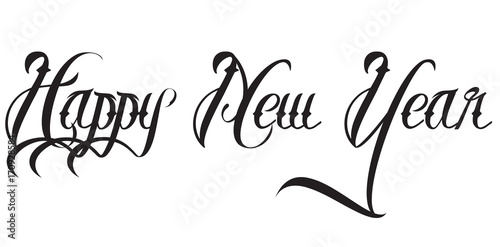 Quot Happy New Year Text Calligraphy Line Fonts Quot Stock Image