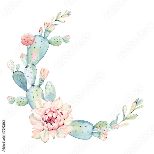 Elegant watercolor flowers circle frame Stock photo and