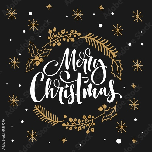 Merry Christmas Hand Lettering Greeting Card With