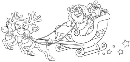 Weihnachtsmann Mit Schlitten Ausmalbilder   Ausmalbilder