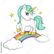"""""""cute magical unicorn and raibow"""