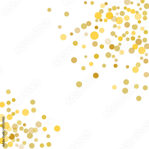 golden confetti on white