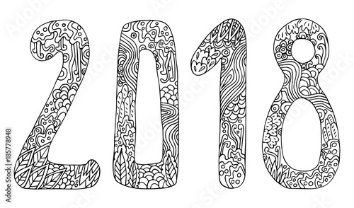 New Year Vector Cute Doodles Hand Drawn Sign Cartoon