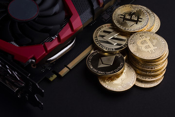 cryptocurrency mining concept with golden bitcoin
