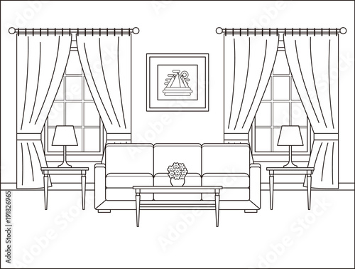 Furniture Line Art Drawingimagecom Sketch Coloring Page
