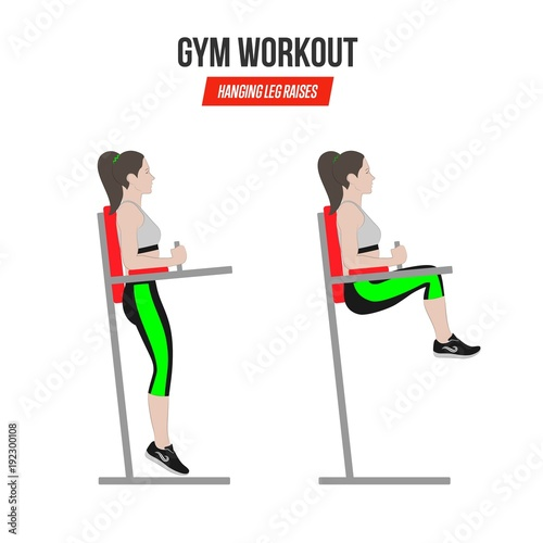 Sport exercises Gym workout hanging leg raises Captain