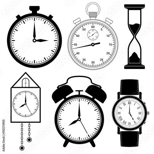 clock icons set black
