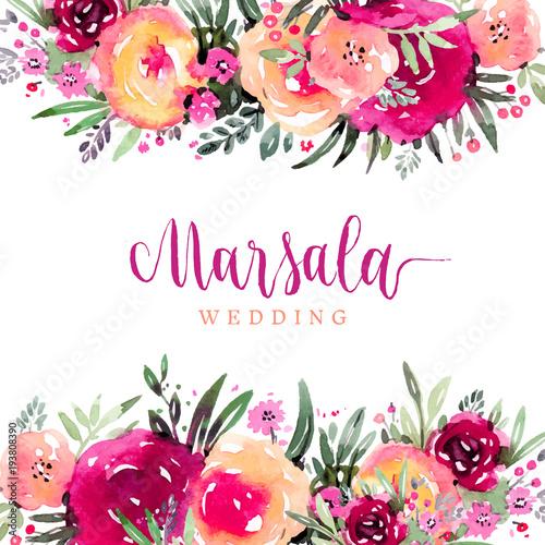 Orange Fall Peonies Wallpaper Quot Marsala Wedding Watercolor Floral Background Quot Stock Image