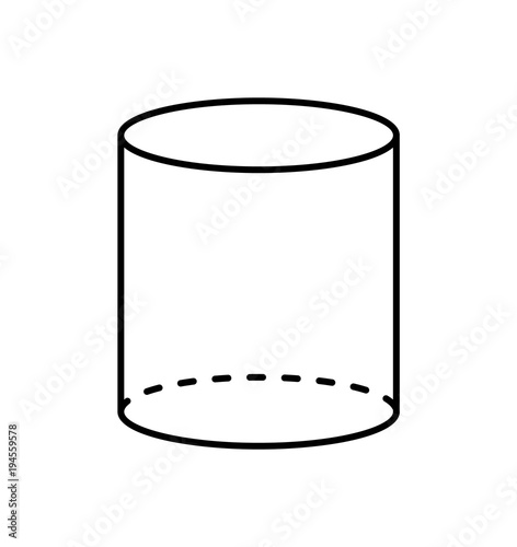 Oblique Cylinder Net Template Sketch Coloring Page