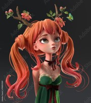"""""""3d cartoon character red-haired"""