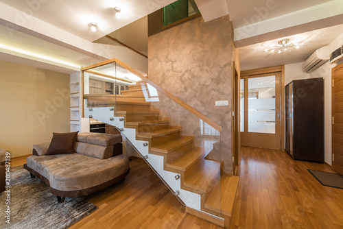 open plan staircase in living room how to arrange a without tv interior luxury loft apartment with stairs