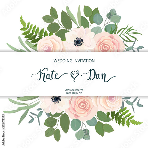 Floral Frame With Anemone Rose And Eucalyptus For