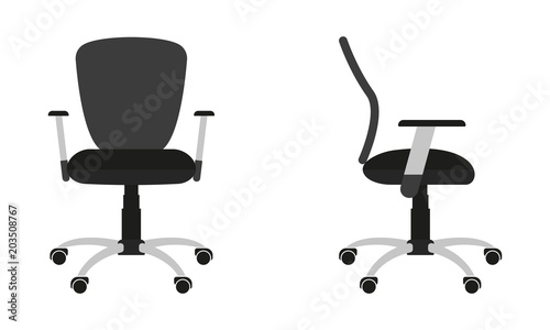 office chair illustration o gravity icon isolated on white background front and side view flat design vector