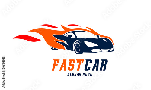 fast racing car logo