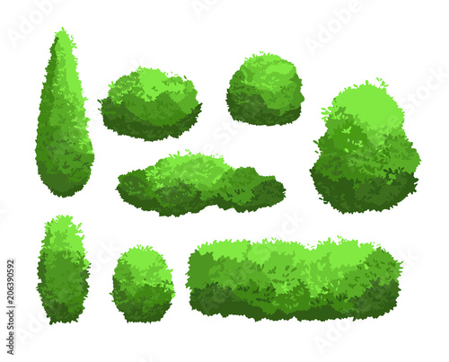 """Vector Illustration Set Of Garden Green Bushes And"