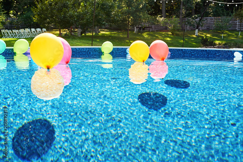 swimming pool with colorful