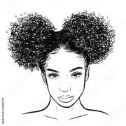 """curly beauty girl illustration"