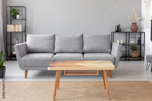 grey sofa living room carpet curtains designs pictures for wooden table on in front of minimal interior with plant real photo