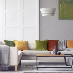 Green Cushions Living Room Cheap Wall Art For And Grey Blanket On Corner Sofa In Interior With Lamp Above Table