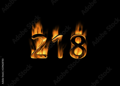 3d number 218 with