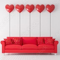 Red Sofa White Living Room Custom Valentine Concept With 3d Render There Are Wood Floor