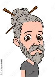 """cartoon long haired hipster boy"