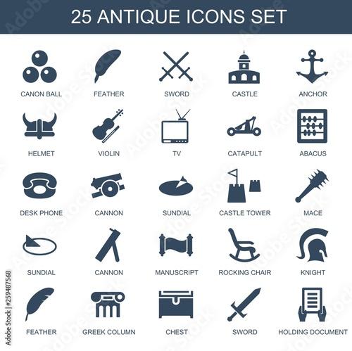 25 antique icons stock