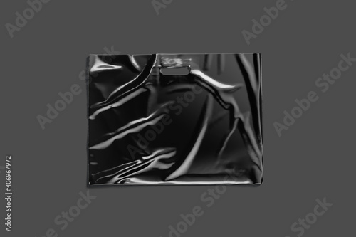 plastic bag mockup free download 1; Blank Big Black Die Cut Plastic Bag With Handle Hole Mockup Wall Mural Alexandr Bognat