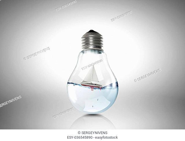 boat inside light bulb