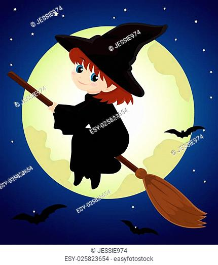 witch riding broomstick stock
