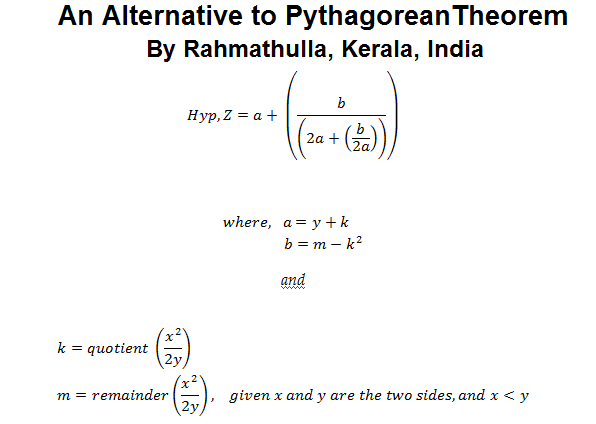 An Alternative to Pythagorean Theorem