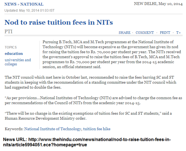 Nod to raise tuition fees in NITs The Hindu