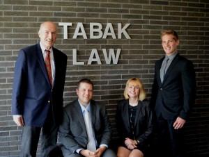 Tabak Law Partners--(from left) Fred Tabak, Esq., Jim Brzezinski, Esq., Lauren Zwirlein, Esq., Alex E Eichhorn, Esq.