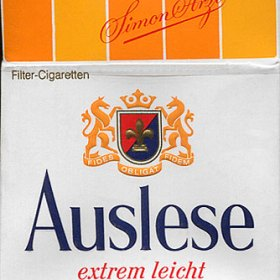 Auslese Zigaretten aus dem Jahr 1970