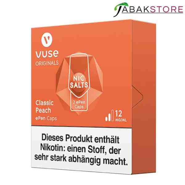 Vuse-ePen-3-Caps-Classic-Peach-rechts-seitlich-mit-12-mg-ml-Nikotin