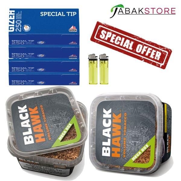Black-Hawk-Tabak-Angebot---2x-Feuerzeuge---4x250-Gizeh-Special-Tip-Blau