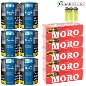 Burton-Blue-Tabak-mit-Moro-Hülsen-und-Feuerzeugen