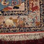 Isfahan Wool On Silk Persian Rug Hunting Scene Animals 3 5 X 5 5