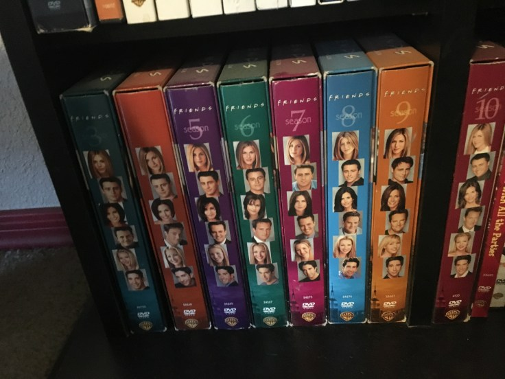 All 10 Seasons of Friends arranged in order from left to right