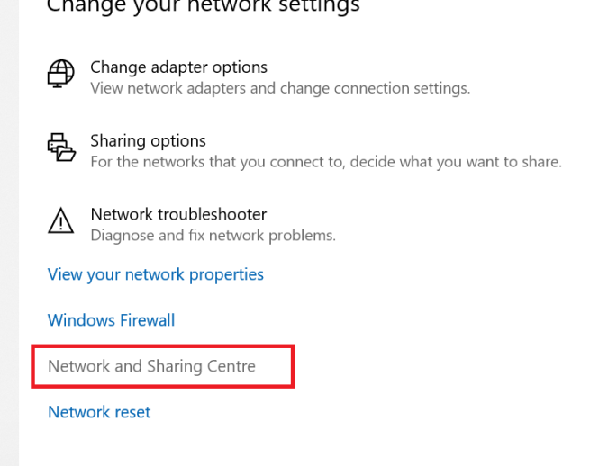 Click on the Network and Sharing Centre link