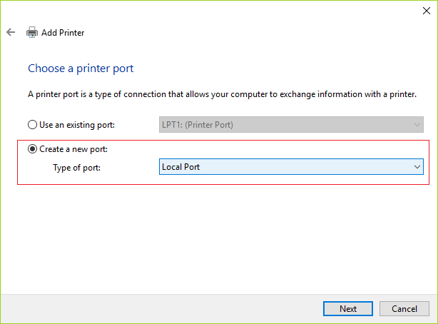 Select Create a new port and then from type of port drop-down select Local Port and then click Next