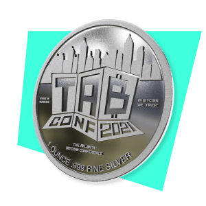 Photo of silver challenge coin for TABConf 2021, the Atlanta Bitcoin Conference
