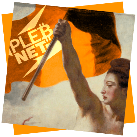 """The painting """"Liberty Leading the People"""", but with PlebNet added"""